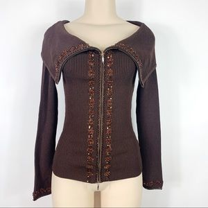 Cache XS Brown Embellished Sweater Top Cowl Neck